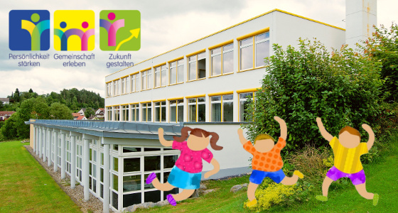 Schulgebäude mit Kindern